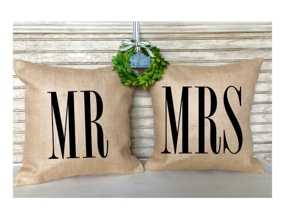 Bride And Groom Gifts Mr And MrsWedding Pillows Shabby