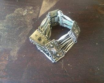 Vintage  Sterling Silver Chain Link Cuff Silver BOHO Bracelet Mexico