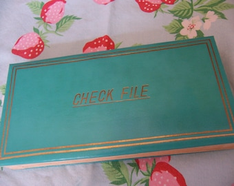 teal vintage expandable check file