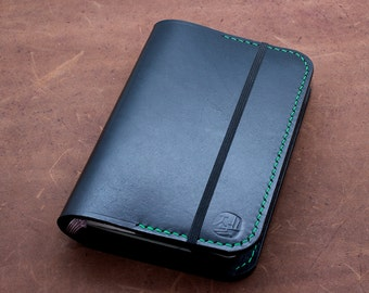 S A L E {sample item} Hand-Stitched Moleskine Journal Cover in BLACK with Green stitching (Pocket Size)