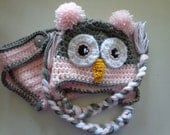 Diaper Cover/Owl Hat Set  for 0-3 Month Baby or Reborn Doll in Pink with Grey Trim