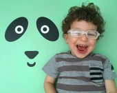Bright Mint Green Sweet Panda Kids Rug / Minimalist Kids Room / Decorative Floor Rug | Bedroom Mat | PVC Rug | Kids Decor / Modern Nursery