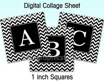 Chevron black 1 inch square images alphabet digital collage sheet printable jewely craft supplies instant download 03s