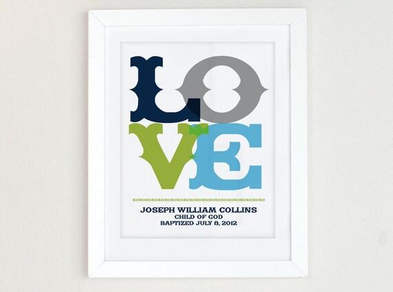 Baby baptism gift for boys, christening gift, personalized nursery art, religious art, green and blue nursery art