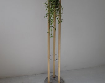 plant stand from wood and cocrete