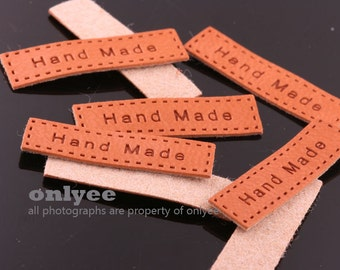 10pcs- 30mmX 8mm Synthetic leather Hand made label Looks Leather Brown(A123)