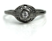 Antique 18 Kt White Gold Old European Cut Diamond Engagement Ring Circa Early 1900's