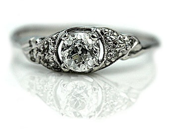 Antique Engagement Ring Vintage Diamond Old European Cut Diamond Engagement Ring .52 ctw Art Deco Engagement Ring Filigree Diamond Ring!