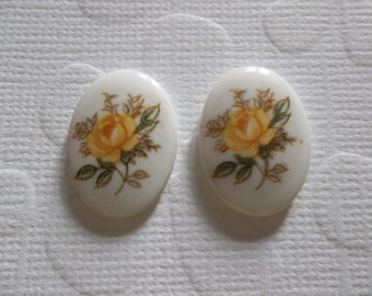 Vintage Decal Picture Stones - Yellow Rose on White Cameo -  18 X 13mm Glass Cabochons - Qty 6