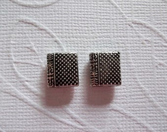Silver Puff Pillow Beads with Dots and Chinese Characters - Silver Plated Pewter - 9mm X 10mm - Qty 6