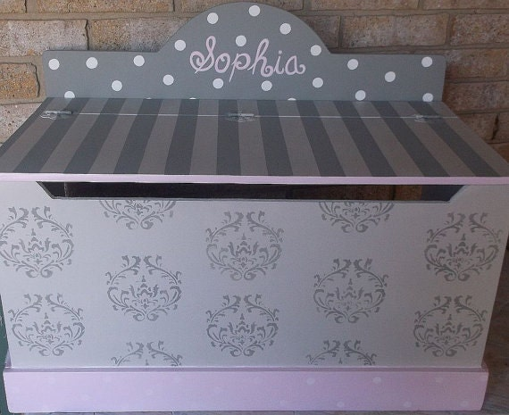 Carnival Toy Box Pink: Toy Chest Damask PINK Grey Bench Toy Box Hope By Spoiltrottn