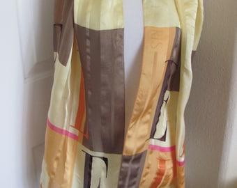 "Elle Paris // Beautiful Golden Yellow Orange Silk Scarf - 15"" x 52"" Long - Best of the Best"