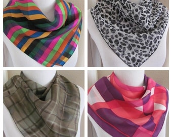 """Assorted Lot of 4 Small Square Ladies Fashion Scarves 20"""" Inch 50cm (lot 5)"""