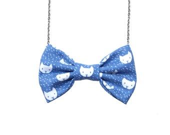 Blue Cats Pattern - BowTie Necklace, Girls Gift - Pre-tied No Collar Bowtie with Chain Closure for Parties, Holidays, Office, School