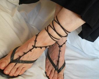 CROCHET BAREFOOT SANDALS  Summer Sandles Shoes Beads Victorian Anklet Foot Women Wedding Accessories Cotton Elegant Feminine Chic Beach Wear