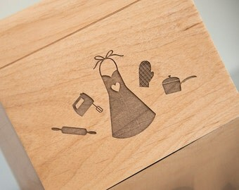 Recipe Box - Personalized wooden box with cute kitchen icons