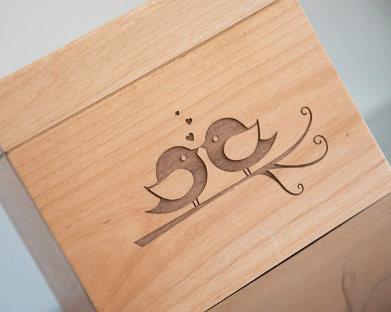 Recipe Box - Engraved Lovebirds