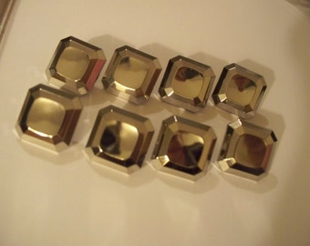 Set of 8 Silvertone Square Buttons