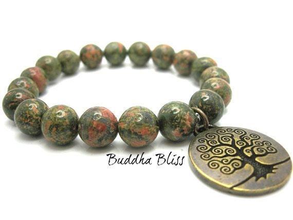 Unakite Tree of Life Energy Bracelet
