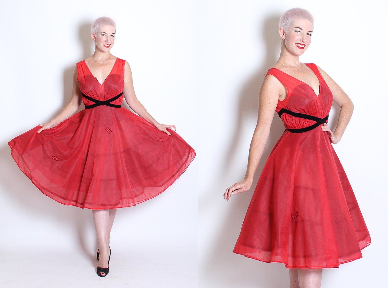 FABULOUS 1950's New Look Cherry Red Sheer Nylon Party Dress w/ Inky Black Velvet Details, Belt & City Appliques by Eyeful by The Flaums - M