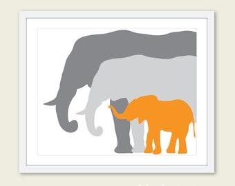 Elephant Family Art Print / Nursery Elephant Art Print / Orange and Gray Nursery Decor / Mother Father and Baby Elephant Print /