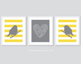 Modern Perched Birds and Love Nursery Art Prints - Set of 3 Prints - Birds Art - Love Art Print - Baby Girl Nursery Decor - Yellow and Grey