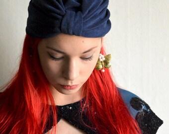 Blue Flapper fashion turban, art nouveau style hat, vintage head covering, cotton head wrap UNI size