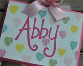 SWEET HEART - Design - Handpainted and Personalized Hairbow Holder - M2M PBK Bedding Pastel Heart Design - Bow Holder Accessory Holder