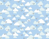 Blue Aqua and Grey Plane and Cloud Flannel, 1 Yard
