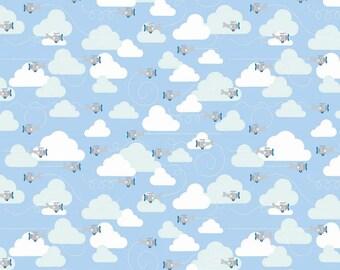 Blue Aqua and Grey Plane and Cloud Flannel, 1 Yard