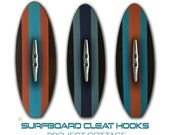 Set of 3 Surfboard Wall Hooks with Boat Cleats