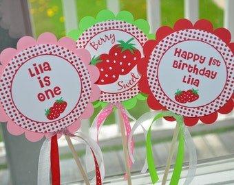Strawberry Centerpiece Sticks - Girls Birthday Party Decorations - Strawberry Birthday Party - Berry Sweet Birthday - Set of 3