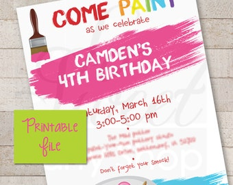Art Party Invitations PRINTABLE - Painting Party DIY Invitations - Art, Artist, Painting Birthday Invites - PRINTABLE