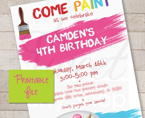 Art Party Invitations PRINTABLE Painting Party DIY Invitations