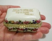 Imperial Porcelain box Scripture on the top Psalm 46:1 - Tie tack pins Angels - Blue & red cross pins - Lot of religious items - cheesegrits