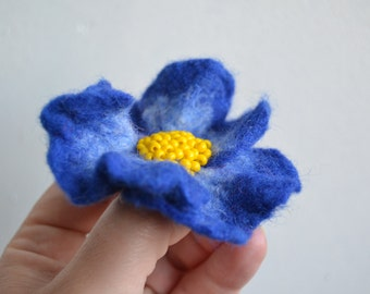 Dark Blue Wool Felted Flower Pin, Wool Fabric Flower Yellow Middle, Floral Brooch
