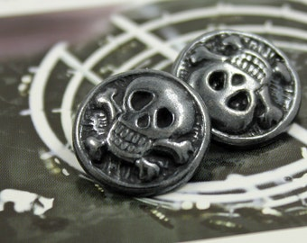 Metal Buttons - Funky Skull Metal Buttons , Gunmetal Color , Shank , 0.71 inch , 10 pcs