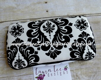 Black and White Damask Boutique Style Travel Baby Wipe Case