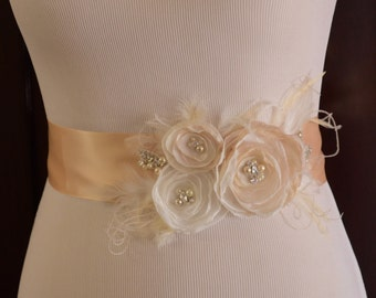 Bridal Champagne flower sash, Bridal gown sash, Champagne and Ivory Flowers with Feathers, Bridal sash with rhinestones and pearls, flowers