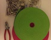 Preppy Key Fob Chain Belt 1.25 Cotton Webbing Strapping Hardware Keyring Kit