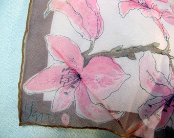 Pink Lilies Vera Ladybug vintage silk chiffon scarf