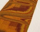 Woven Table Runner, Handwoven Textile Art, Golds & Browns