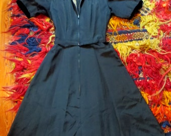 Incredibly Detailed Black with Black and White Trim 40s/50s Dress