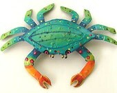 """Crab Wall Tropical Metal Wall Hanging in Turquoise - 32"""" x 48"""" - Hand Painted Metal Art - Outdoor Garden Decor - RXXL-107-TQ-48"""
