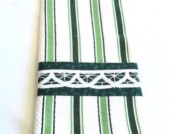 Green white stripe dish towel green border white lace