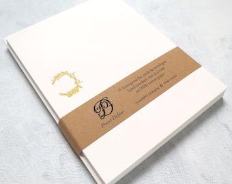 Letterpress Note Cards - Olive Wreath (Set of 10)