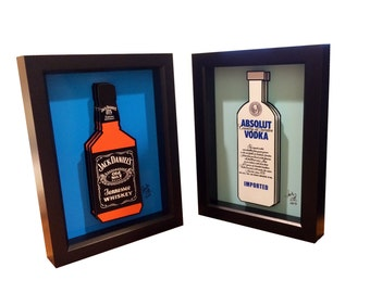 Jack Daniels Bottle Absolut Vodka Bottle Art 3D Pop artwork