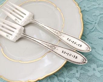 """Mr. & Mrs. vintage wedding forks Rogers """"triumph"""", hand stamped"""