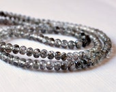 NEW Black Rutilated Quartz Rondelles, Faceted AAA Gemstone Beads, Semiprecious Stone Roundels, 3mm - 3.5mm - 7 inch strand