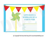 Pinwheel Invitation Pinwheel Invite Party Invitation Party Invite Birthday Invitation Boy Party invitation Summer Party Invite Printable